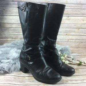 Dansko Moto Black Leather Chunky Heel Boots